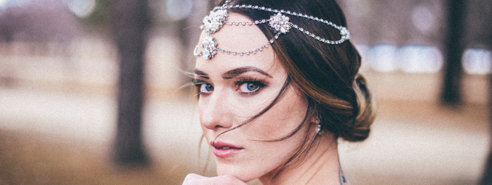 Stunning vintage inspired bridal head chain. Both Headpiece and wedding gown available at Pure Bridal.